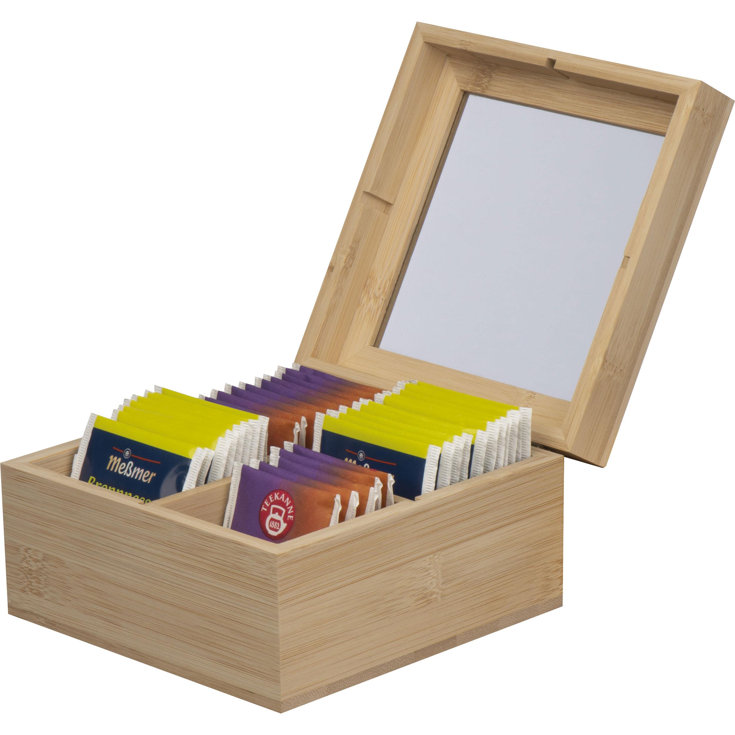 Boîte de rangement pour le thé en bambou avec couvercle en verre pour 40 sachets de thé