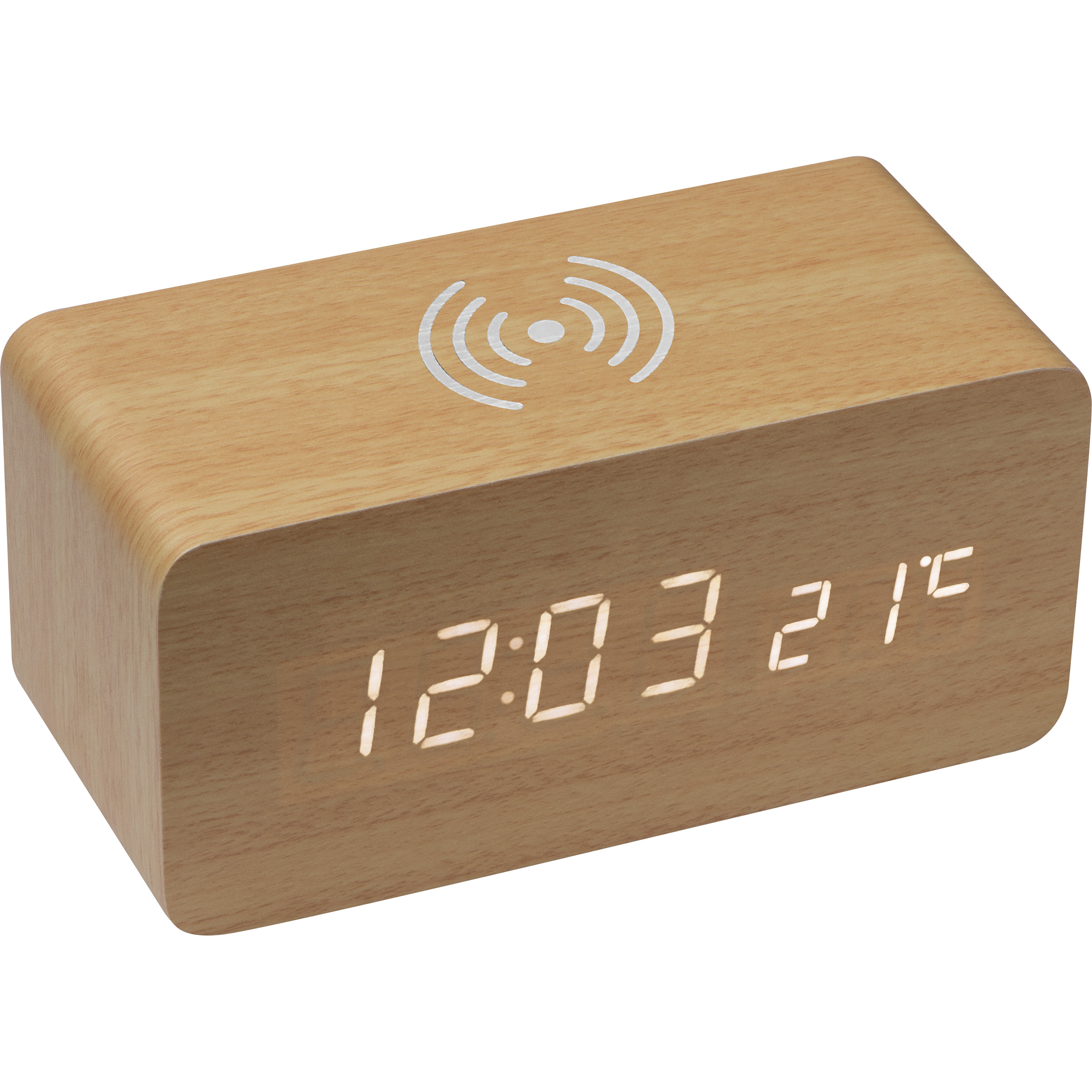 Desk clock with integrated wireless charger