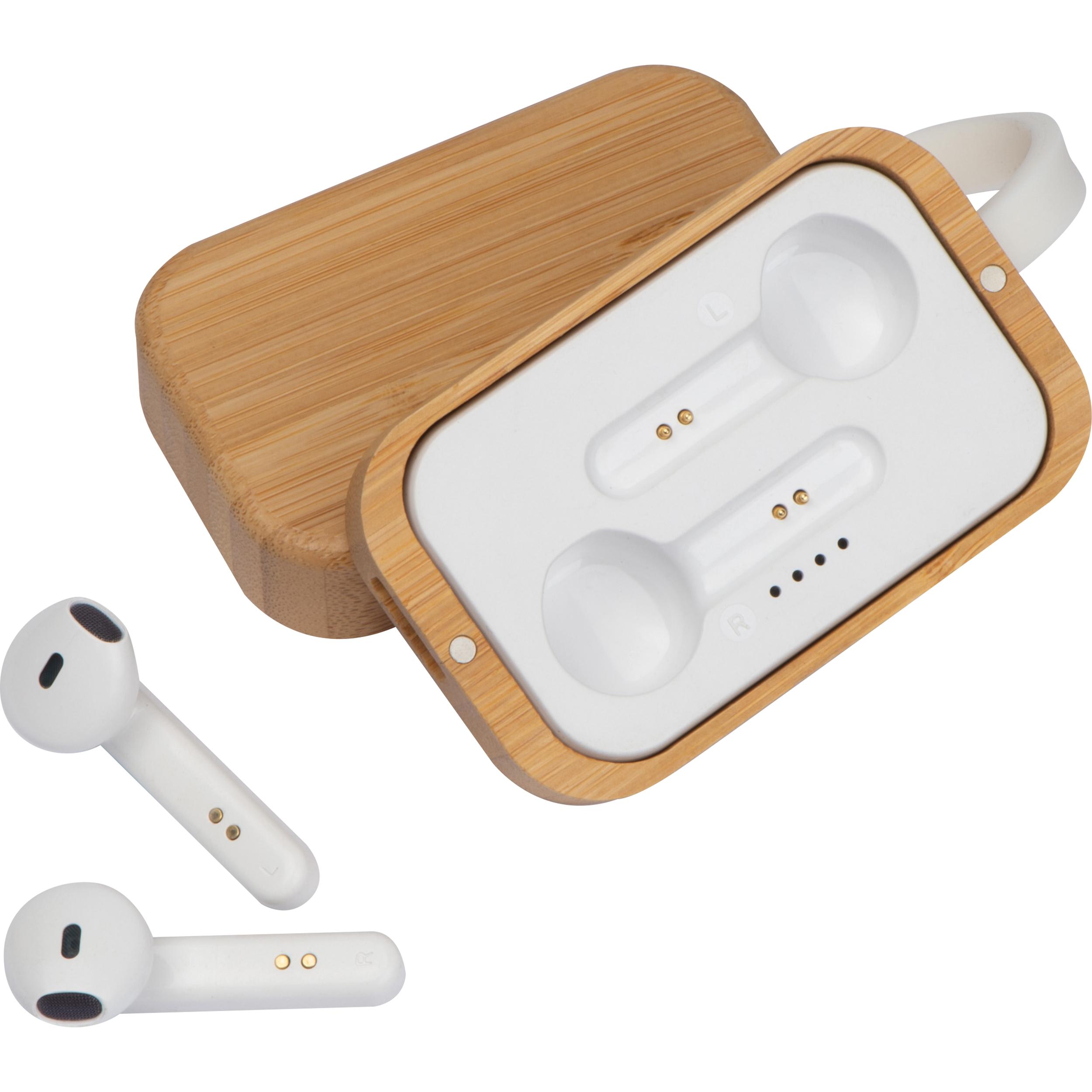 Casque d'écoute Bluetooth dans un emballage en bois