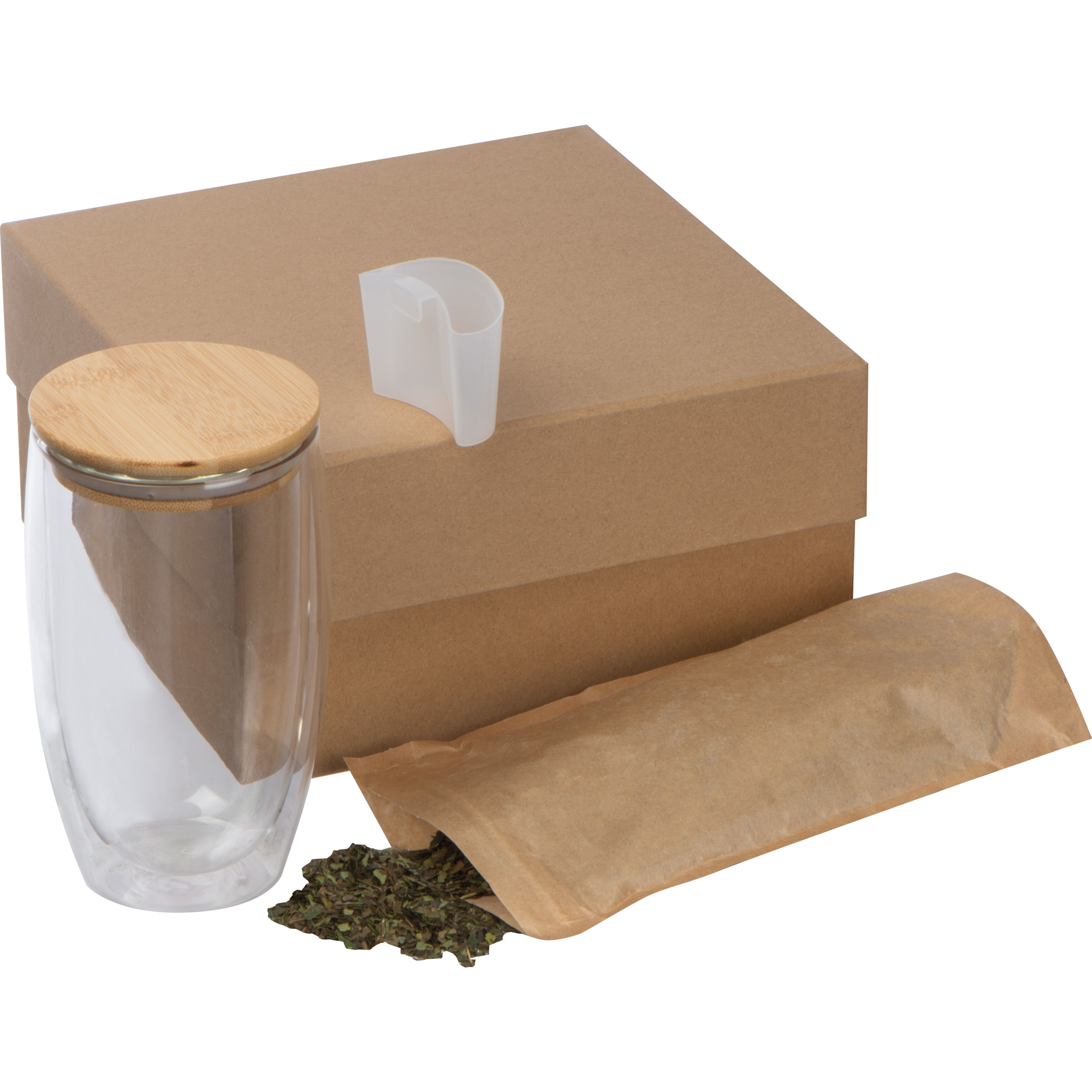 Geschenkset mit Teeglas, schwarzem Tee & Teebeutelhalter