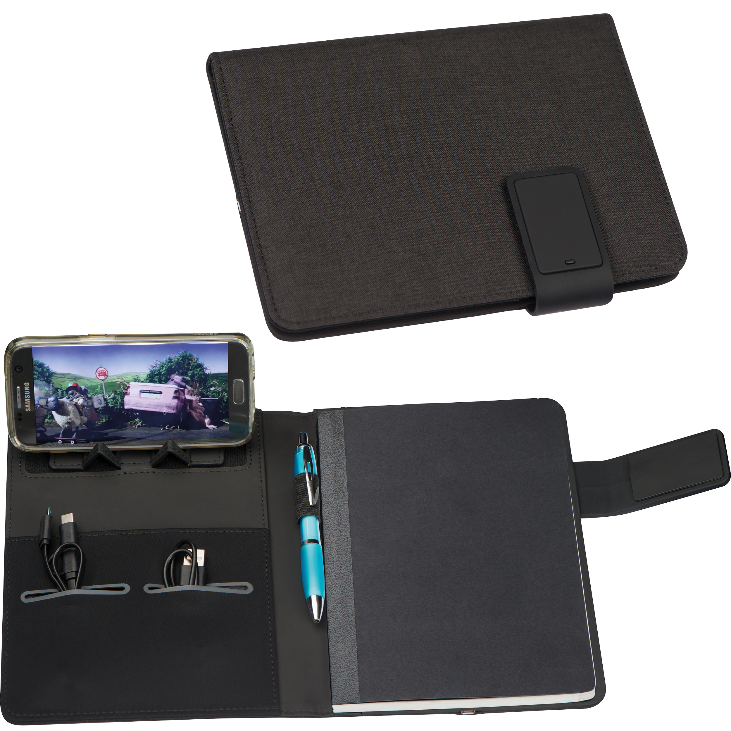 DIN A5 notebook with integrated LED light and powerbank