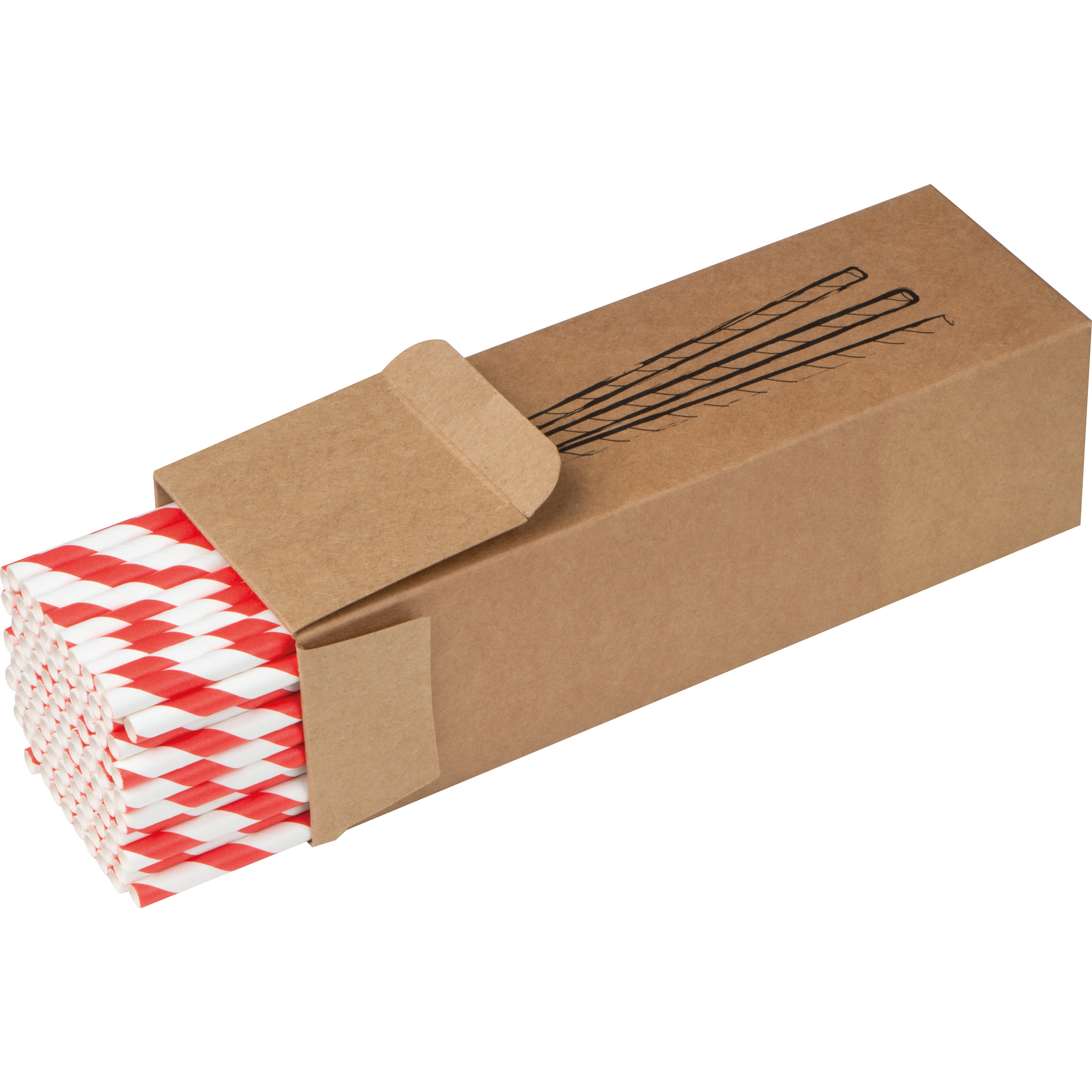 Set of 100 drink straws made of paper