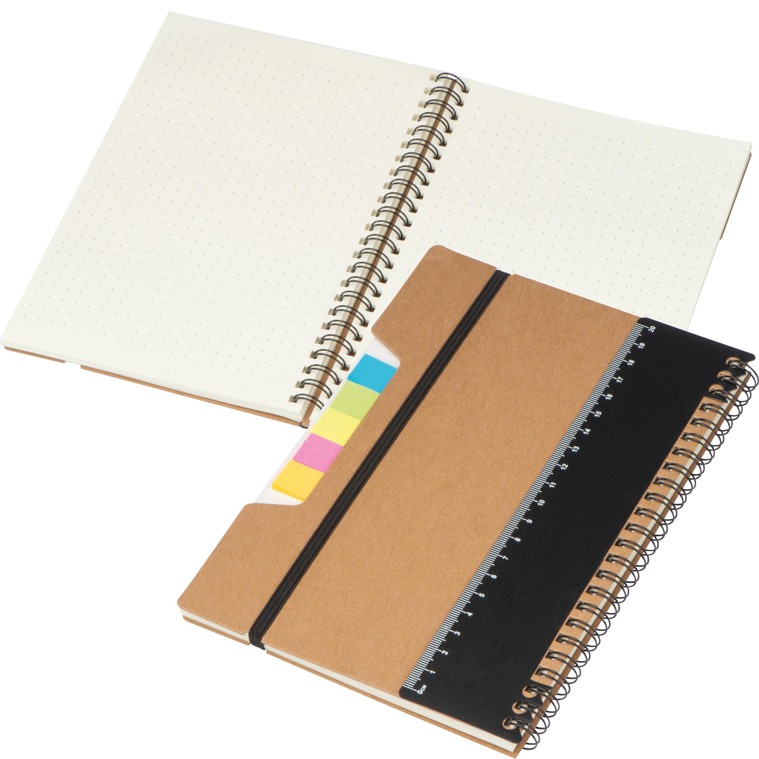 Notizbuch mit Haftnotizen, Ringbuch, Lineal und Gummiband zum Verschließen