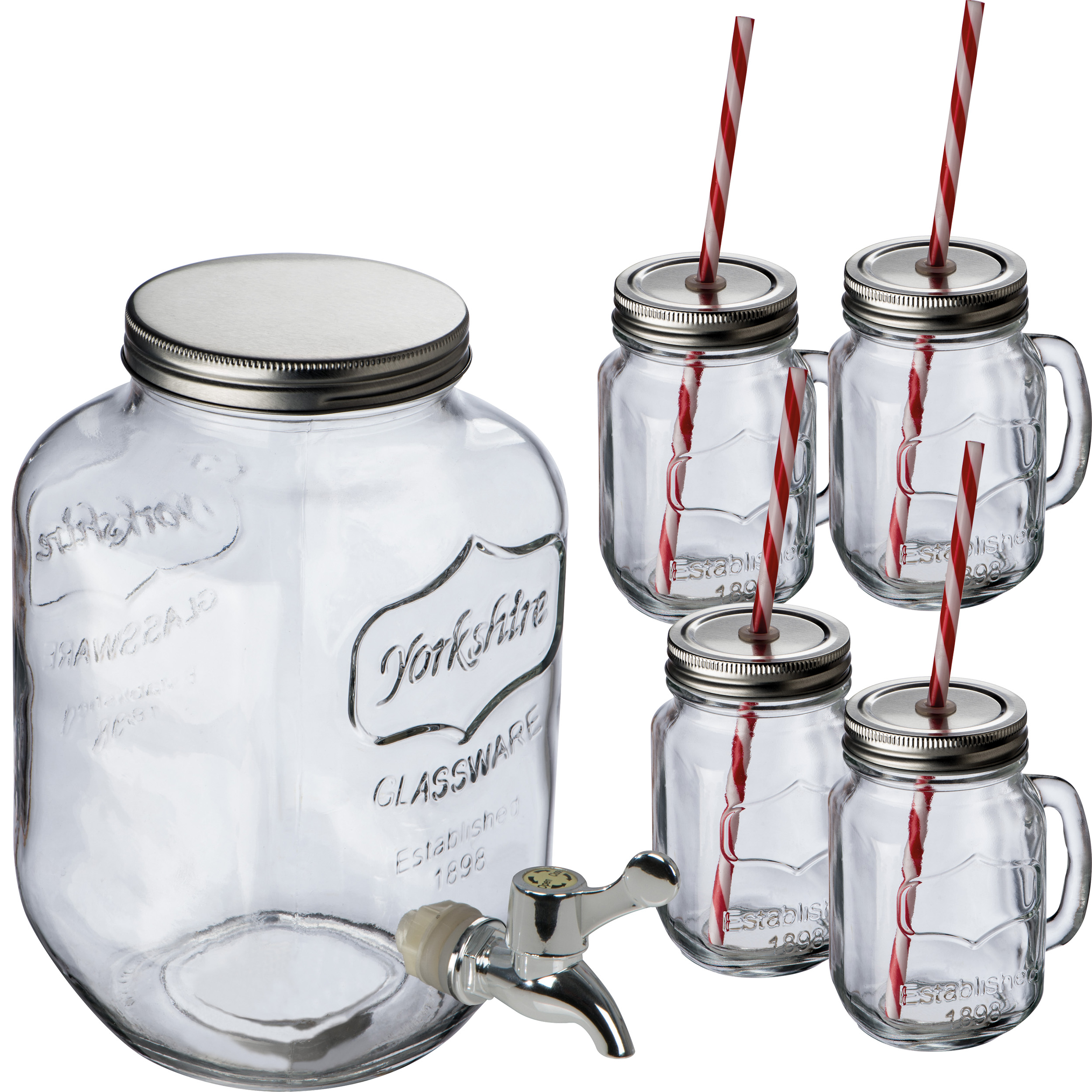 Glass dispenser with 4 jugs