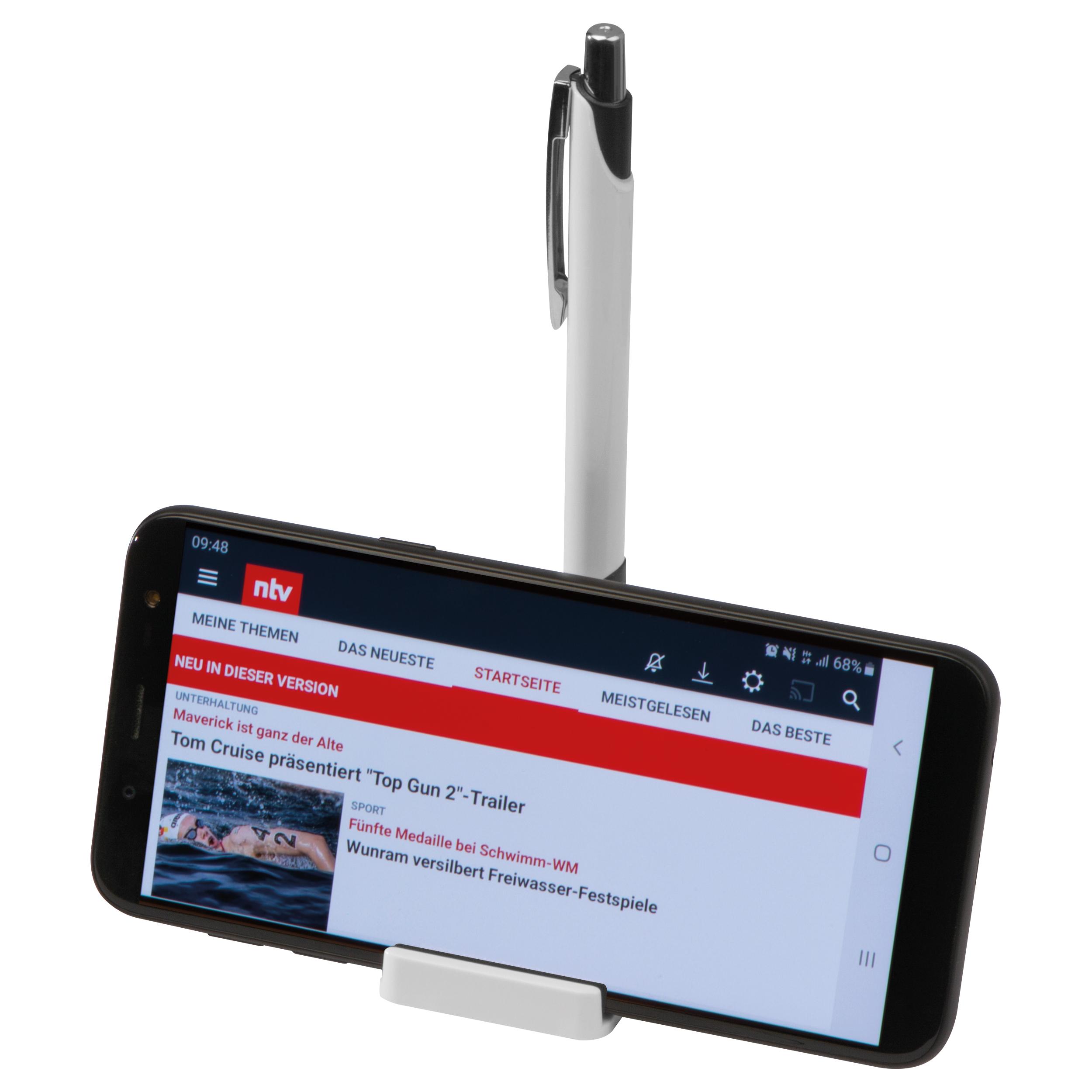 Support pour téléphone portable avec fonction magnétique et stylo à bille en métal