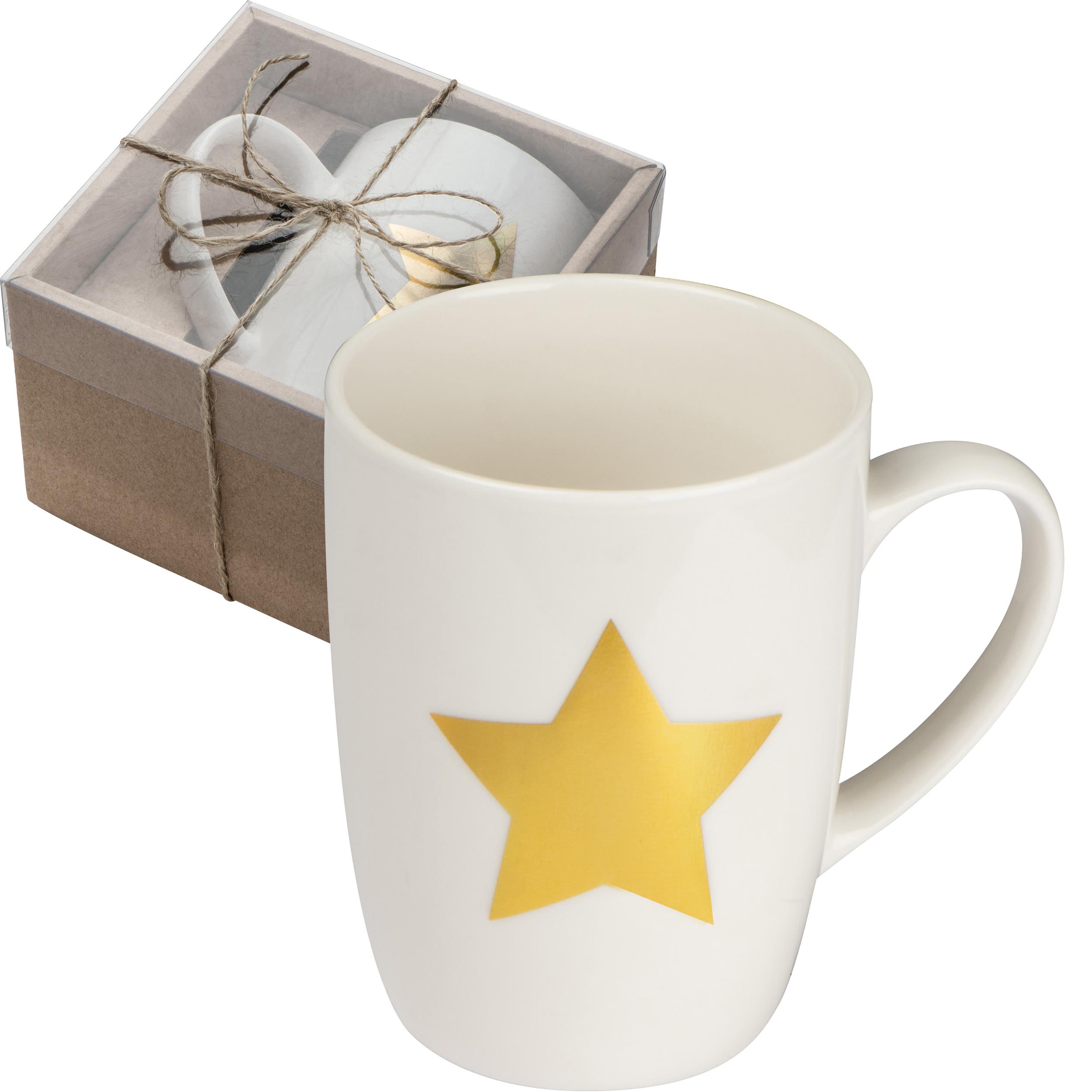 Tasse mit Stern Aufdruck aus Porzellan, 300 ml