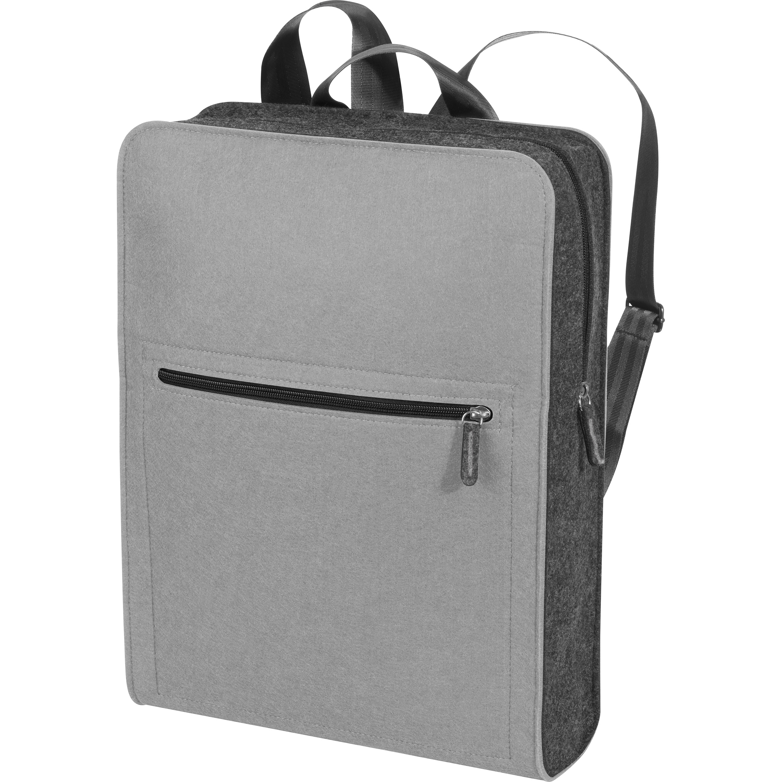 Backpack made of felt material with a colour accent