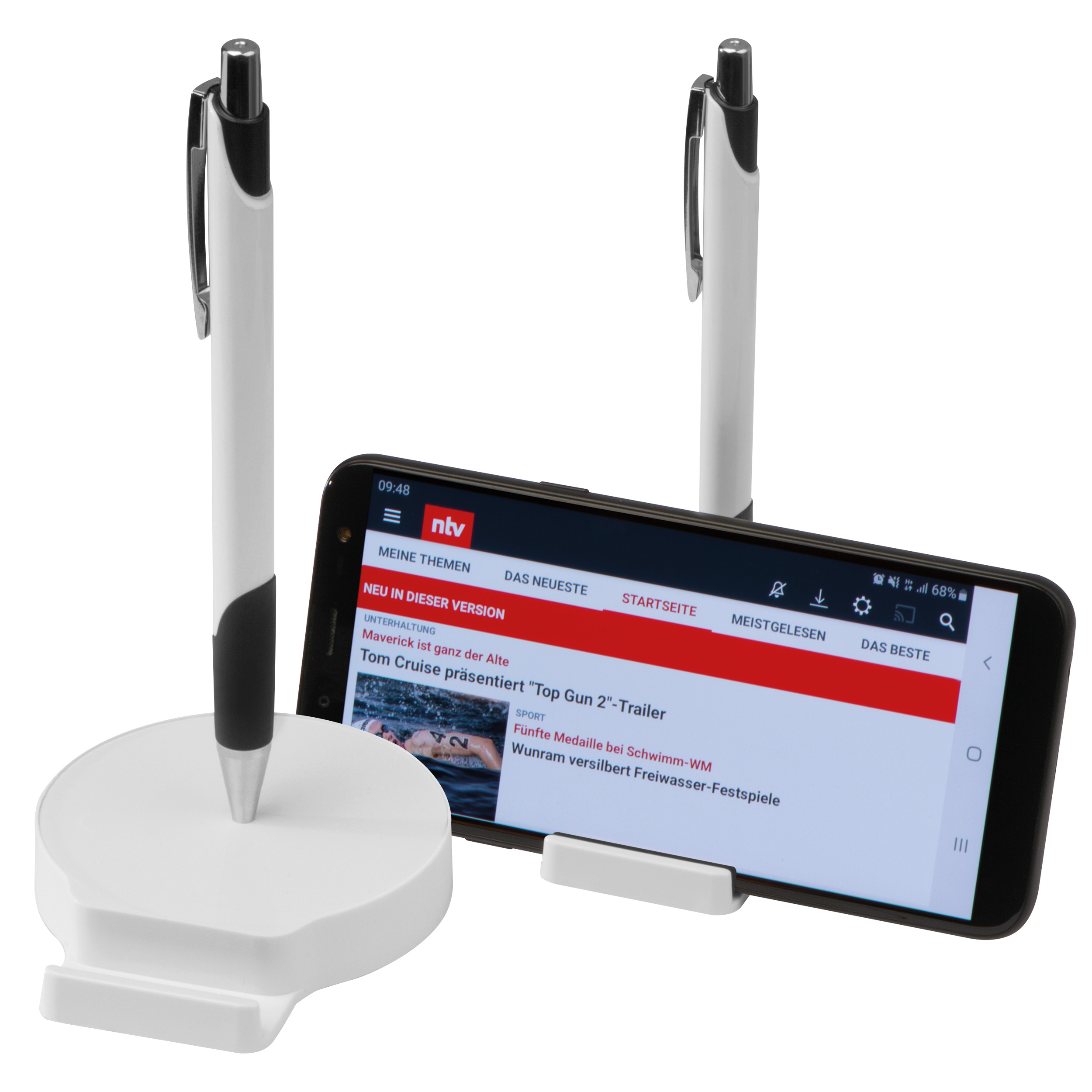 Mobile phone holder with magnetic function, includes metal ballpen