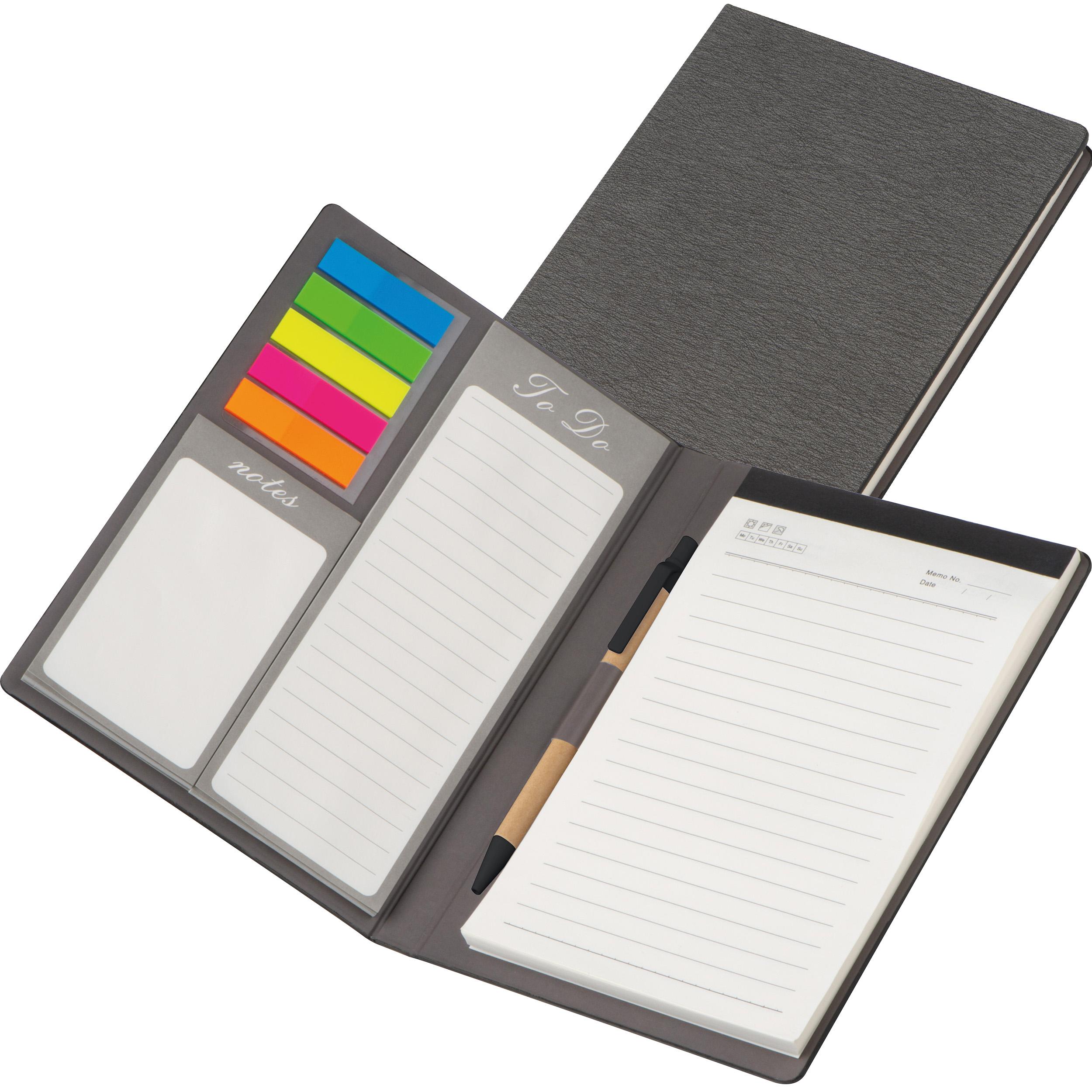 Schreibmappe mit PU Einband, Notizen, To Do Liste und Haftmarkern