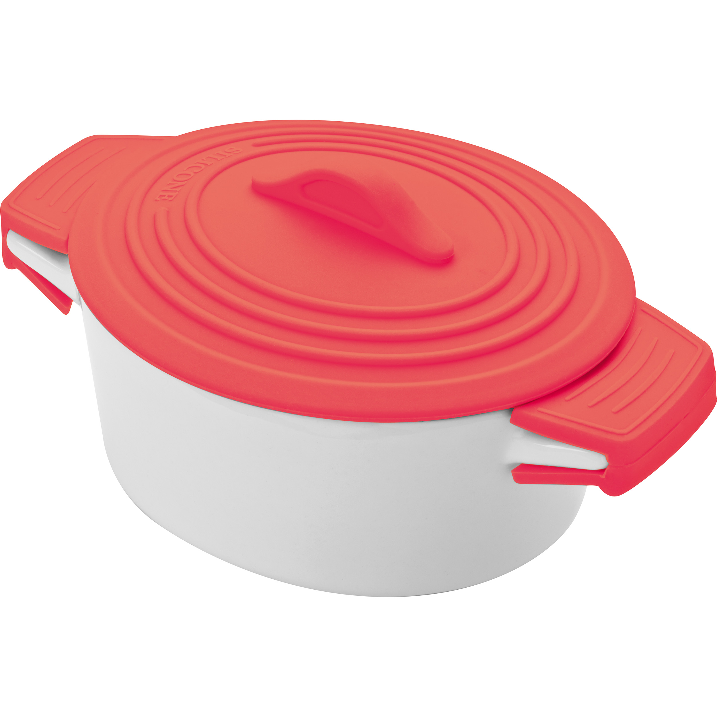 Porcelain pot with siliconee lid and heat protected handles
