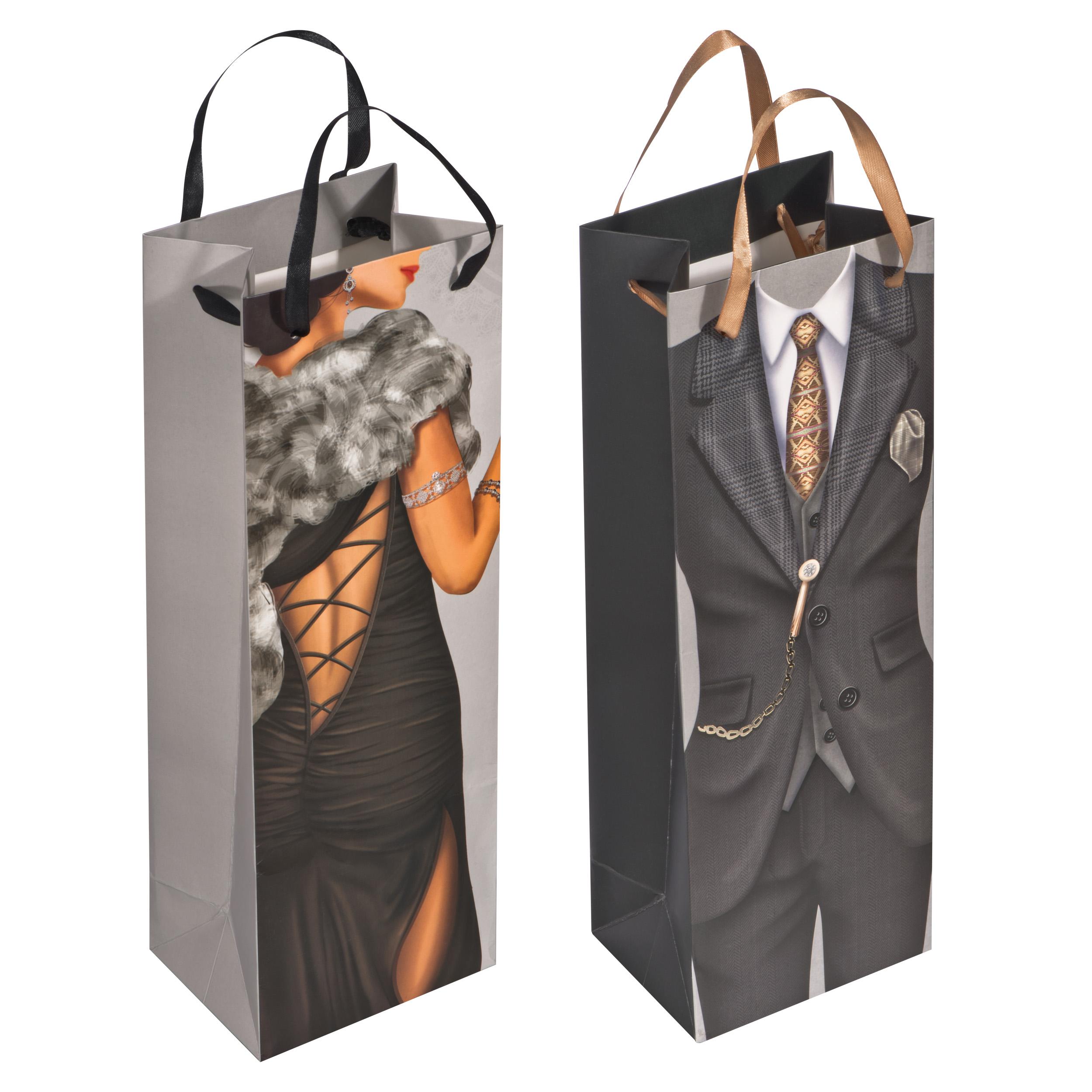 Geschenktüte Mann/Frau in der Größe einer Weinflasche