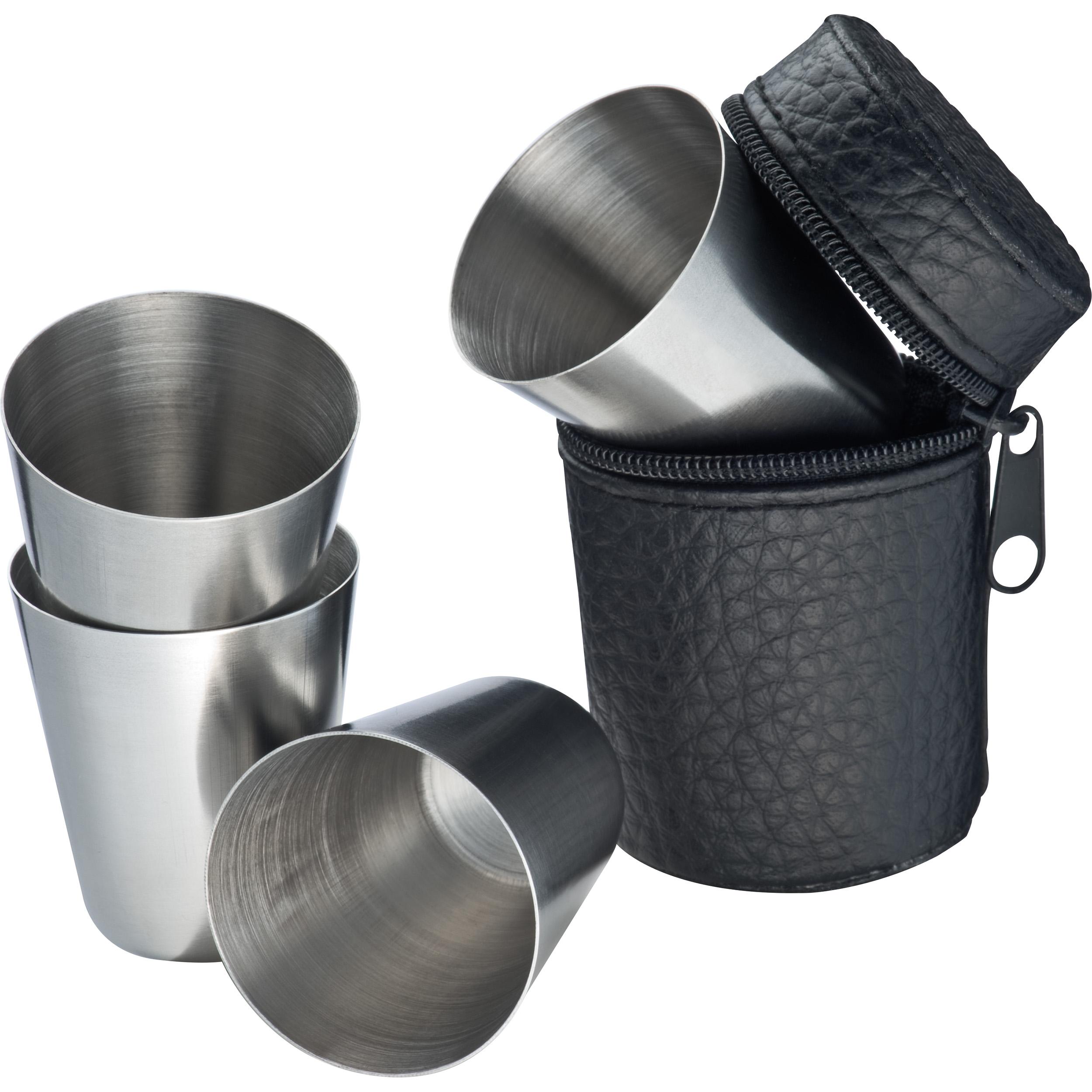 4 gobelets à liqueur en acier inoxydable