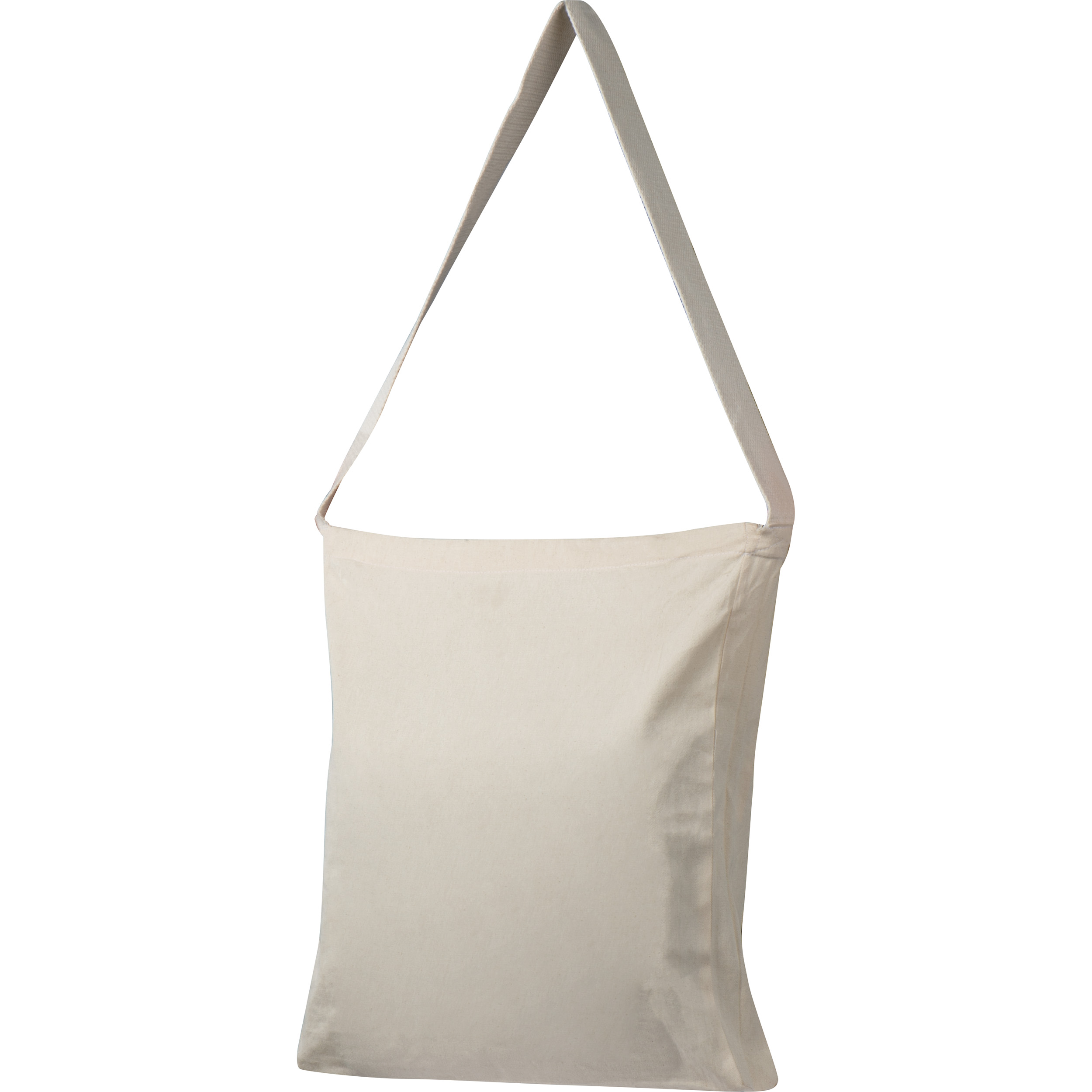 Cotton bag with woven carrying handle and bottom fold